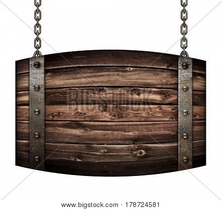 Vintage wood barrel signboard for restaurant hanging on chains isolated 3d illustration