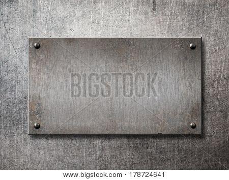 old steel frame on metal wall background 3d illustration