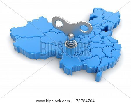 3D illustration. Map of China with winding key. Image with clipping path.