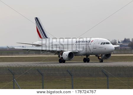 Borispol, Ukraine - March 25, 2017: Air France Airbus A319-111 aircraft landing on the runway to Borispol International Airport on March 25, 2017. Editorial use only