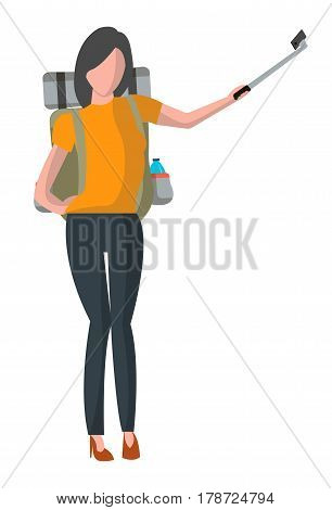 Woman with backpack taking selfie stick picture vector illustration isolated on white background. Tourist people in flat design. Outdoor traveling, nature vacation concept.