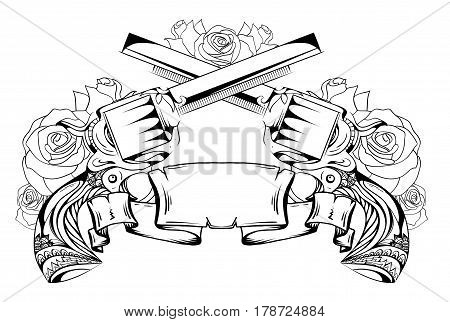 Contour drawing of two revolvers roses and scroll. Duel. Vector element for sketching tattoos printing on T-shirts and your design