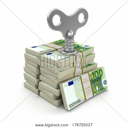 3D illustration. Pile of Euros with winding key. Image with clipping path