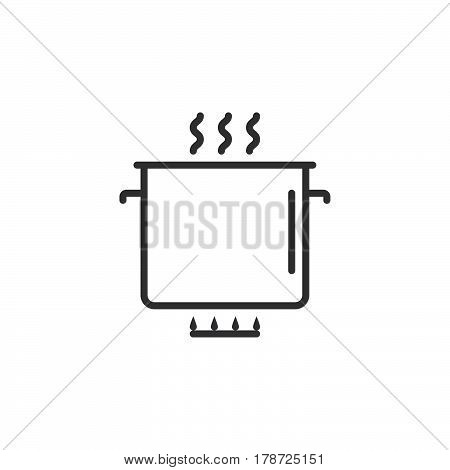 cooking line icon saucepan outline vector sign linear pictogram isolated on white. logo illustration