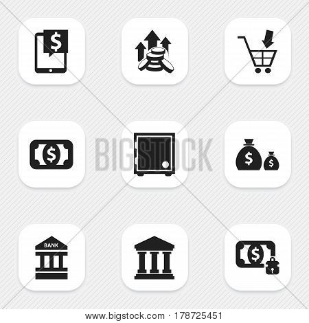 Set Of 9 Editable Financial Icons. Includes Symbols Such As Crate, Coins Raise, To Deposit Money And More. Can Be Used For Web, Mobile, UI And Infographic Design.