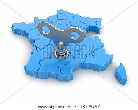 3D illustration. Map of France with winding key. Image with clipping path.