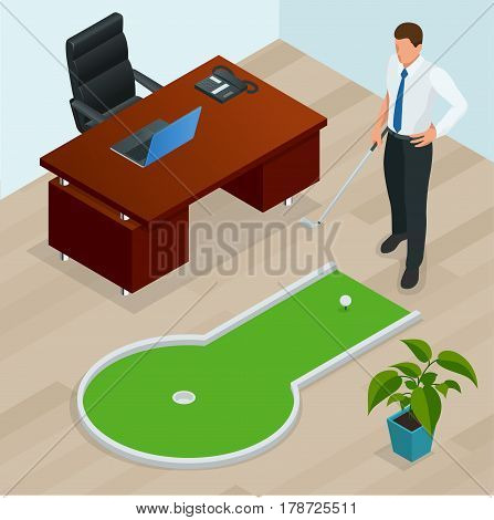 Businessman playing mini golf in his office. Perfect for products such as t-shirts, pillows, album covers, websites, flyers, posters or any design.