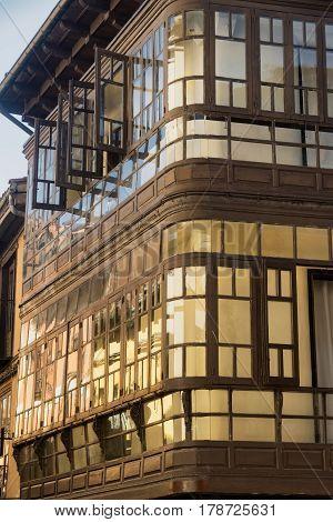 Leon (Castilla y Leon Spain): historic building with typical verandas