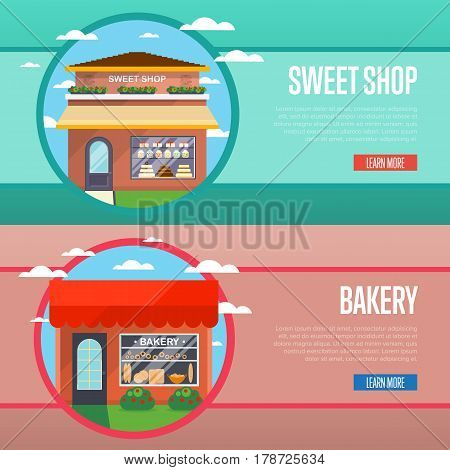 Sweet and bakery shop banner set vector illustration. Candy bar, cake shop, pastry store, dessert cafe, confectionery retail concept. Commercial public building in front with showcase on street