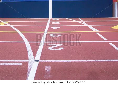 Then common start - finish line of an indoor track.