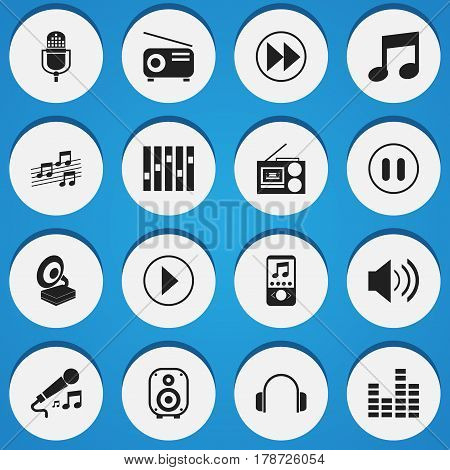 Set Of 16 Editable Melody Icons. Includes Symbols Such As Microphone, Phonograph, Earphone And More. Can Be Used For Web, Mobile, UI And Infographic Design.