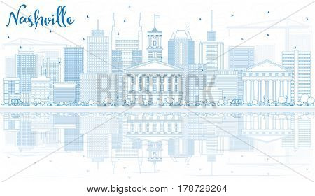 Outline Nashville Skyline with Blue Buildings and Reflections. Business Travel and Tourism Concept with Modern Architecture. Image for Presentation Banner Placard and Web Site.