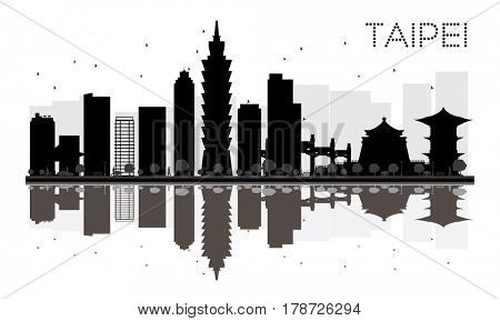 Taipei City skyline black and white silhouette with reflections. Simple flat concept for tourism presentation, banner, placard or web site. Business travel concept. Cityscape with landmarks.