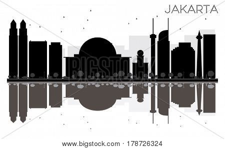 Jakarta City skyline black and white silhouette with reflections. Simple flat concept for tourism presentation, banner, placard or web site. Cityscape with landmarks.