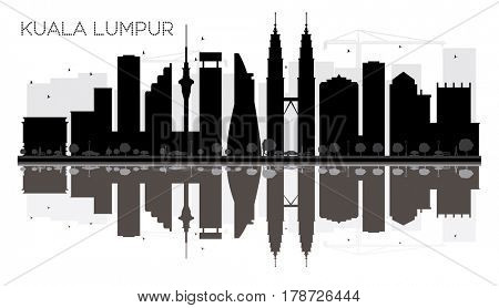 Kuala Lumpur City skyline black and white silhouette with reflections. Simple flat concept for tourism presentation, banner, placard or web site. Cityscape with landmarks.