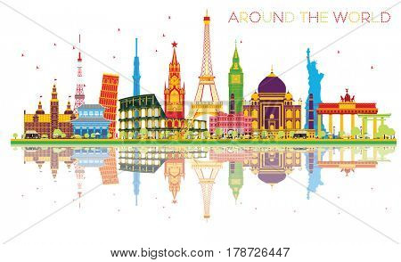 Travel Concept Around the World with Famous International Landmarks and Reflections. Business and Tourism Concept. Image for Presentation, Placard, Banner or Web Site.