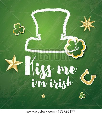 Saint Patrick's Day Background with Clover Leaves, Horseshoe and Golden Stars.