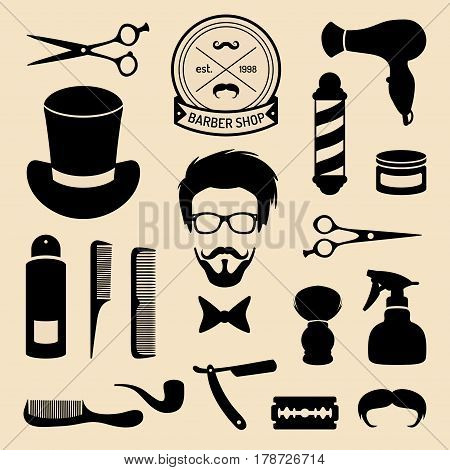Vector set of barbershop icons with hipster face in flat style. Hairdressing salon elements collection