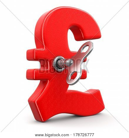 3D illustration. Pound Sign with winding key. Image with clipping path
