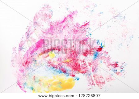 Colorful abstract painting, creative modern art, abstractionism. Red, blue and yellow colors on white background.