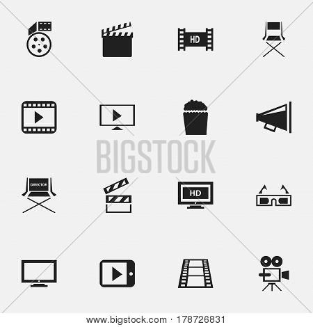 Set Of 16 Editable Movie Icons. Includes Symbols Such As Loudspeaker, Reel, Start Video And More. Can Be Used For Web, Mobile, UI And Infographic Design.