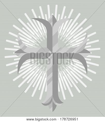 Silver christian cross icon isolated on grey background vector illustration. Christianity religion symbol in flat design.