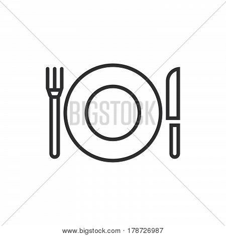 Plate Fork And Knife line icon dishware outline vector sign linear pictogram isolated on white. logo illustration