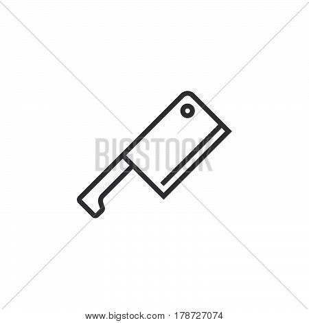 Meat Cleaver Butcher Knife line icon outline vector sign linear pictogram isolated on white. logo illustration