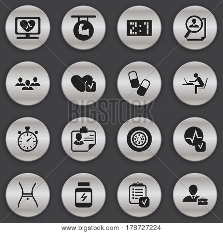 Set Of 16 Editable Mixed Icons. Includes Symbols Such As Search, Result, Chronometer And More. Can Be Used For Web, Mobile, UI And Infographic Design.