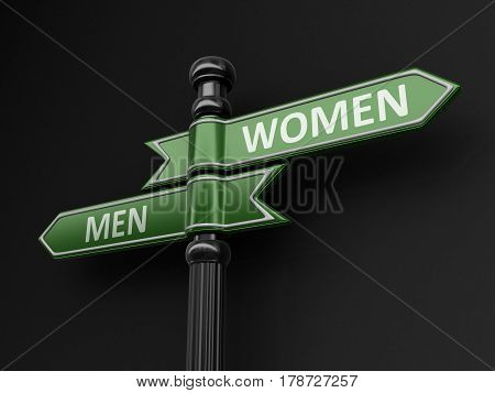 3D illustration. Man and women pointers on signpost. Image with clipping path