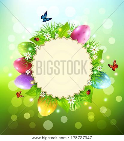 Background for Easter with a round card for text, eggs, grass and flowers around.