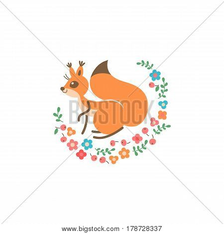 Cartoon cute squirrel. Little funny print. Vector illustration grouped and layered for easy editing