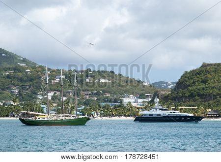 Yachts drifting in Lindbergh Bay in St. Thomas island (U.S. Virgin Islands).