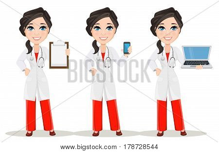Doctor woman with stethoscope. Set. Cute cartoon smiling doctor character in medical gown holding smartphone holding clipboard and holding laptop. Vector illustration. EPS10
