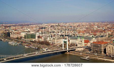 Cityscape of Budapest with view of Elisabeth Bridge and St Stephens basilica