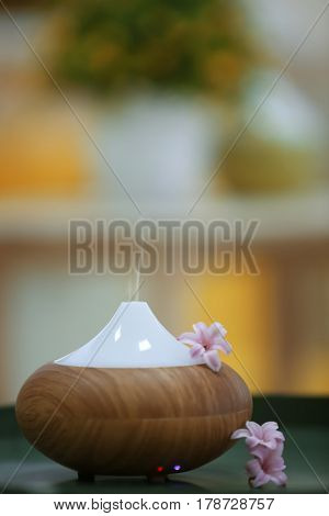 Aroma oil diffuser and little flowers on blurred background