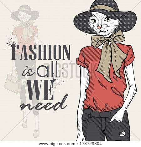 Vector color sketch of female model with cats head wearing T-shirt, flip flops, ripped jeans, bow, hat and bag. Fashion is all we need