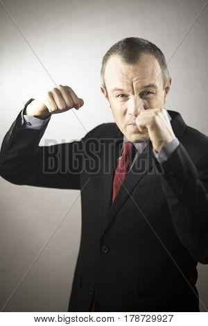 Businessman In Suit Aggressive