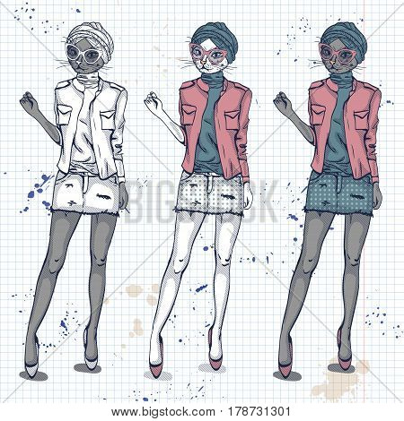 Vector set, color sketch of female model with cats head wearing denim skirt, denim jacket, top, shoes, turban and sunglasses on a notebook page.