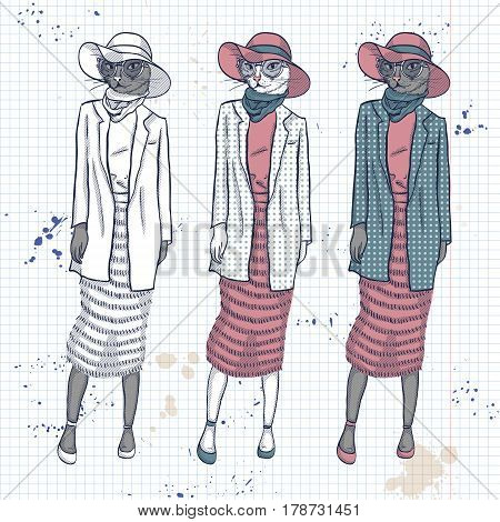 Vector set, color sketch of female model with cats head wearing fringed skirt, top, jacket, scarf, hat, sunglasses and ballet flats on a notebook page.