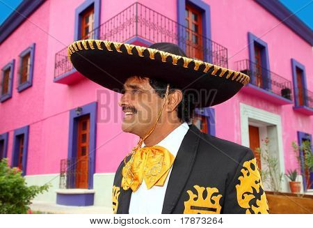 Charro mexican Mariachi portrait in pink Mexico house poster