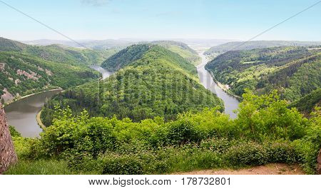 Saar River Bend From Lookout Point Cloef