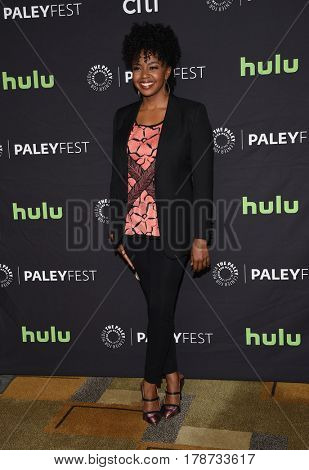 LOS ANGELES - MAR 19:  Jerrika Hinton arrives for the PaleyFest 2017-Grey's Anatomy on March 19, 2017 in Hollywood, CA
