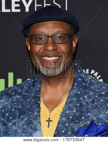 LOS ANGELES - MAR 19:  James Pickens Jr. arrives for the PaleyFest 2017-Grey's Anatomy on March 19, 2017 in Hollywood, CA
