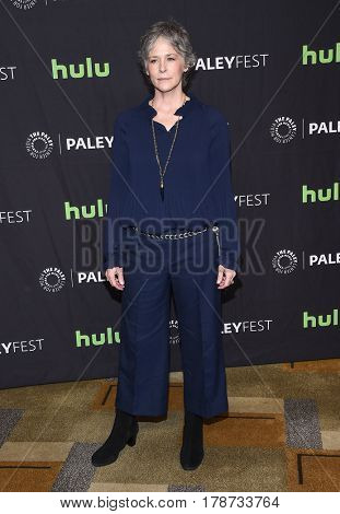 LOS ANGELES - MAR 17:  Melissa McBride arrives for the PaleyFest 2017-The Walking Dead on March 17, 2017 in Hollywood, CA