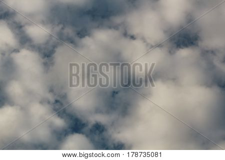 Cotton-like clouds look like cotton balls in a blue sky over san Jose,California