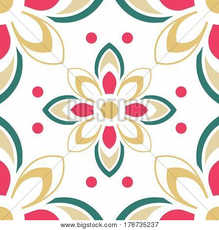 Abstract colorful ornament. Template for carpet cover textile linen tile wallpaper and any surface. Seamless vector pattern.