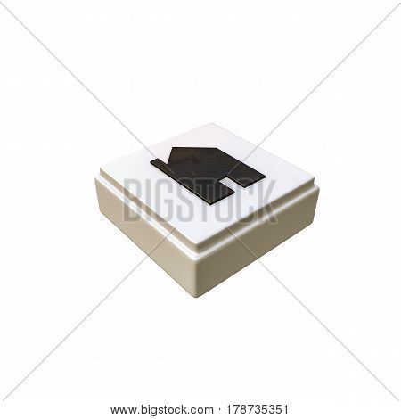 3d illustration of an home computer button isolated on white background