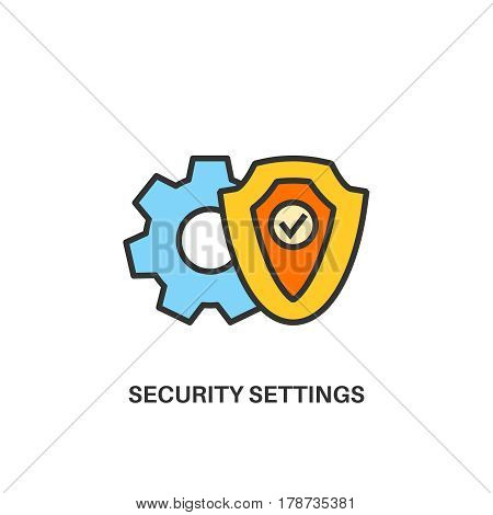 Security settings. Internet security information protection outline linear icon