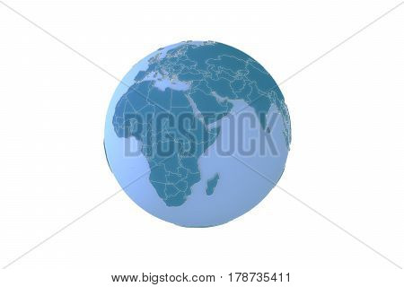 3d illustration of the world geopolitically extruded isolated on white background